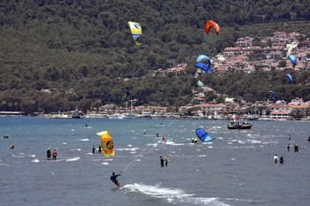 Muğla's Akyaka draw the attention of local and foreign tourists with its proclivity for windsurfing.