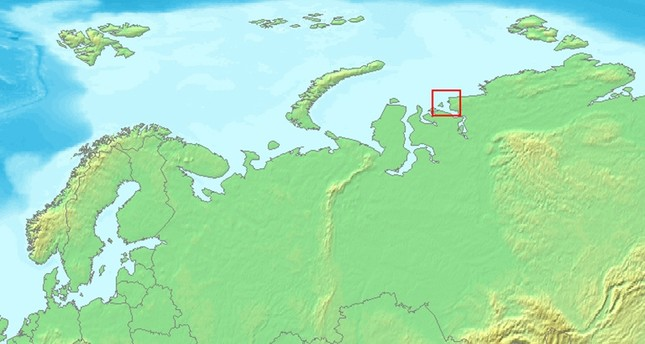 Map showing the settlement of Dikson and Dikson Island in Russia.