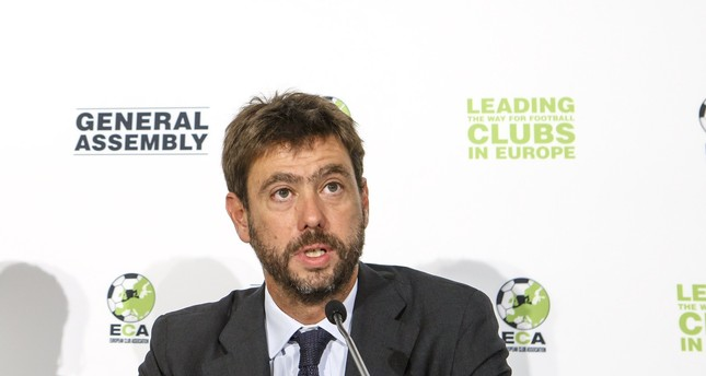 The new chairman of the European Club Association (ECA), Agnelli attends a press conference after the plenary general assembly of the ECA in Geneva, Sept 5, 2017. (EPA Photo)