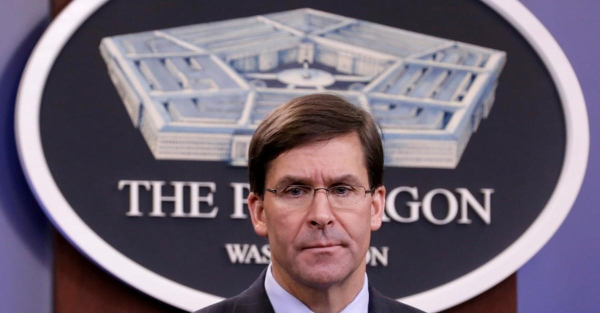 U.S. Defense Secretary Mark Esper holds a press briefing at Pentagon in Arlington, Virginia, U.S., December 20, 2019 (Reuters Photo)