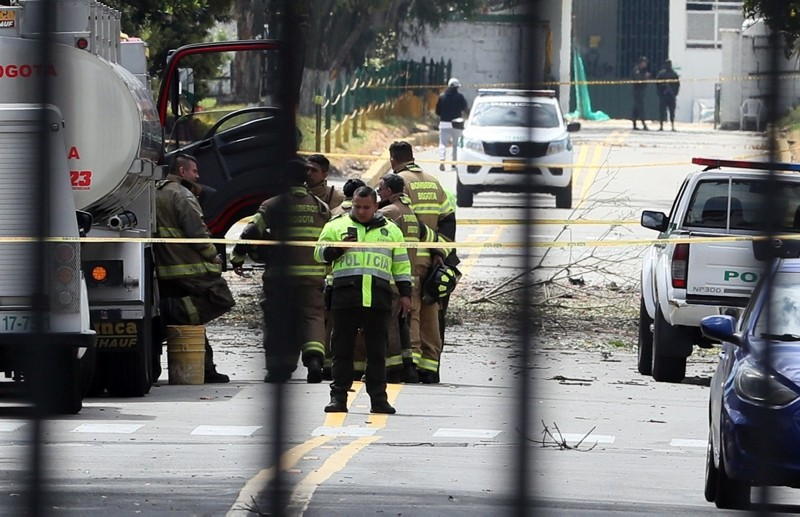 General view of the place where a bomb car caused an explosion at the Escuela General Santander de la Policia (Santander General Police School) in Bogota, Colombia, Jan. 17, 2019. (EPA-EFE Photo)