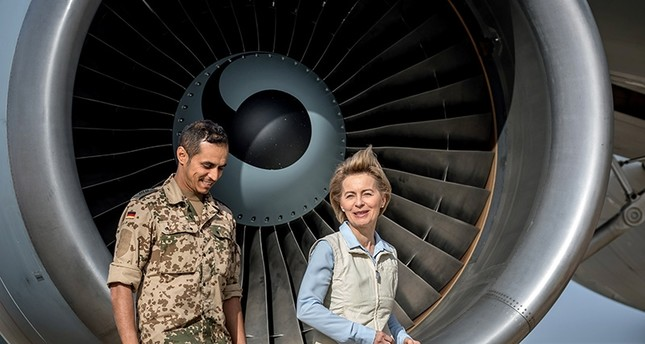 German Defense Minister Ursula von der Leyen speaks to a German soldier as she visits the German contingent at the Al Azraq air base in Jordan, Jan. 13, 2018. (Reuters Photo)