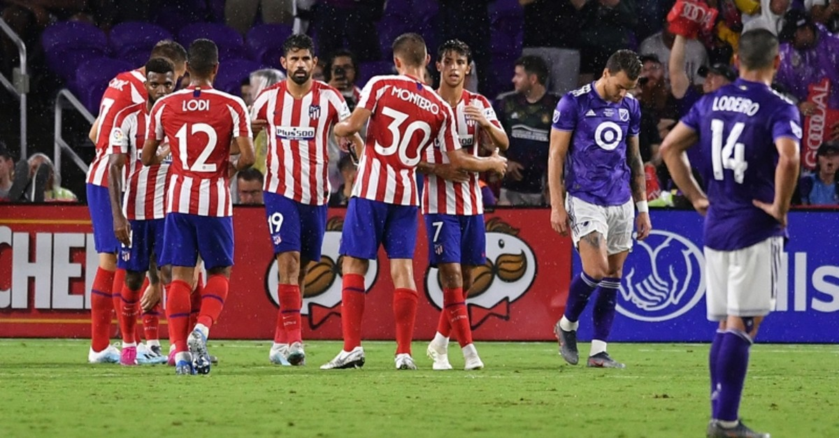 Atletico Madrid forward Diego Costa (19) and Atletico Madrid forward Joao Felix (7) celebrate after a goal against the MLS All Stars during the second half of the 2019 MLS All Star Game at Exploria Stadium. (Jasen Vinlove-USA TODAY via Reuters)