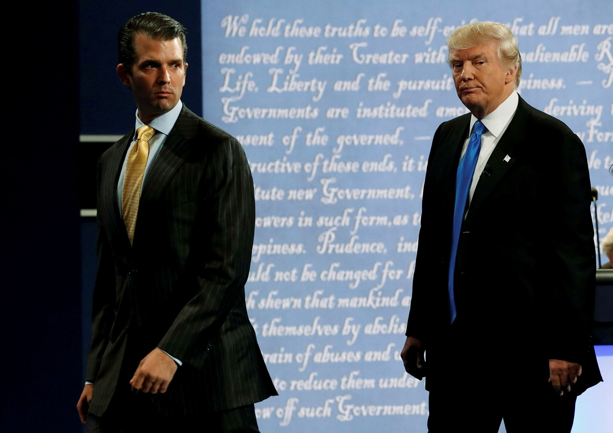 Donald Trump Jr. (L) walks off stage with his father Donald Trump after Trump's debate against Democratic nominee Hillary Clinton at Hofstra University in Hempstead, New York, U.S. September 26, 2016. (Reuters Photo)