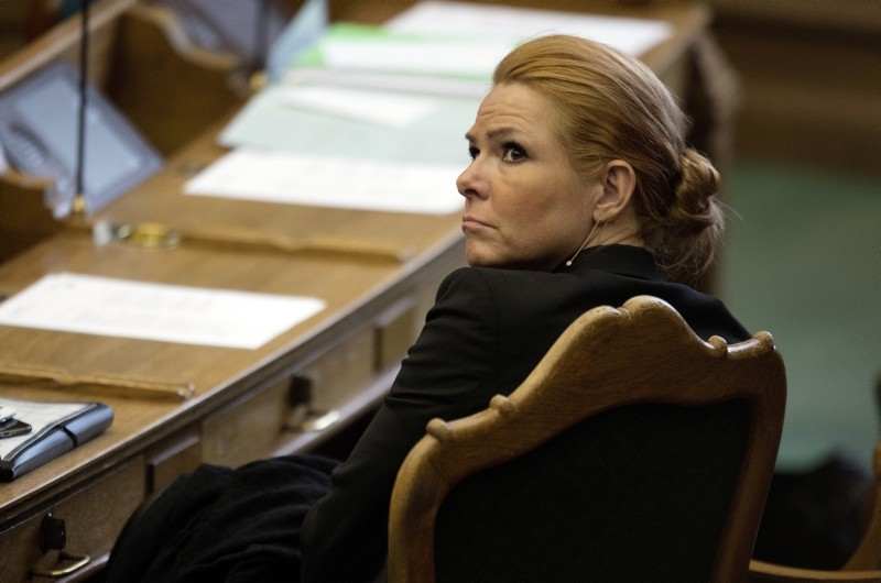 In this Tuesday Jan. 26, 2016 file photo, Denmark's Minister of Integration from the Liberal Party Inger Stoejberg sits in Parliament, in Copenhagen. (AP Photo)