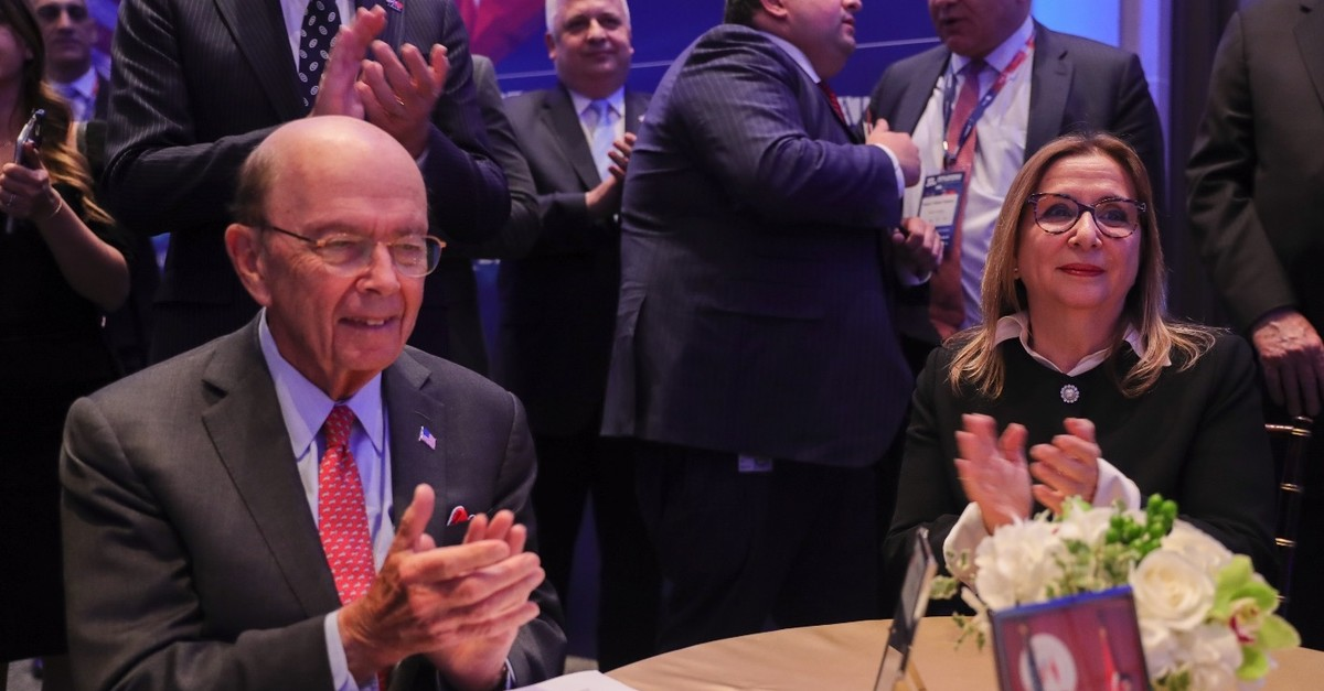 Trade Minister Ruhsar Pekcan (R) and U.S. Secretary of Commerce Wilbur Ross discussed ways to boost bilateral trade volume and the establishment of a joint working group to accomplish that goal during 37th Annual Conference on Turkey-U.S. Relations
