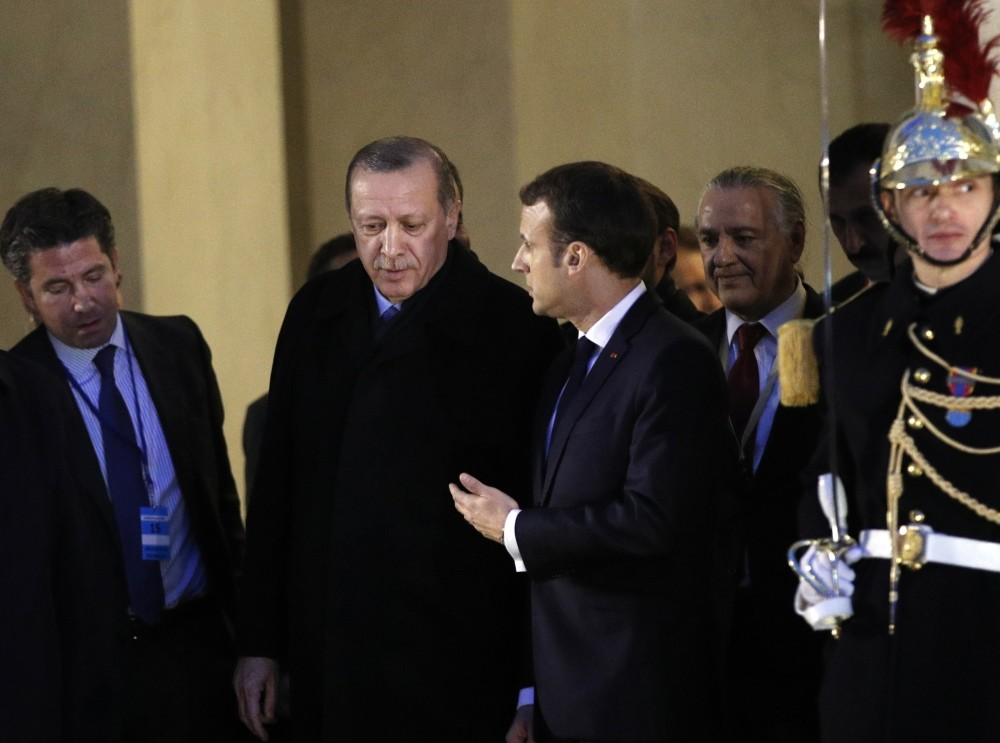 President Erdou011fan leaves after a meeting with French President Macron at the u00c9lysu00e9e Palace, Paris, Jan. 5.