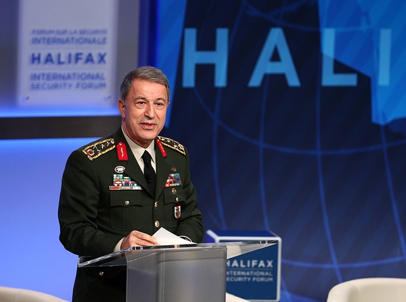 Turkish Chief of Staff Gen. Hulusi Akar deliver his speech at the 9th annual Halifax International Security Forum, in Canada, on Nov. 20, 2017. (AA Photo)