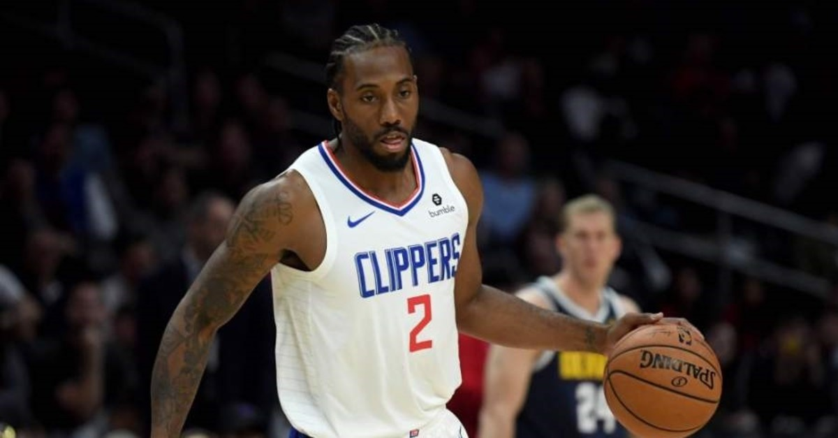 Kawhi Leonard of the LA Clippers in action during a 111-91 Denver Nuggets preseason win, Los Angeles, Oct. 10, 2019.  (AFP Photo)