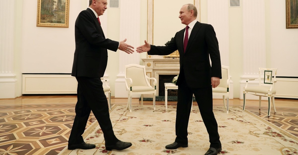 President Erdou011fan meets with his Russian counterpart Vladimir Putin at the Kremlin, Moscow, Russia, Jan. 23, 2019.
