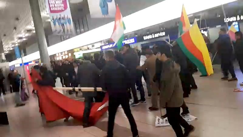 A fight breaks out during a demonstration against Turkish military operation in Syria, in the Hannover Airport, Germany, in this still image taken from a social media video Jan. 22, 2018. (Reuters Image)