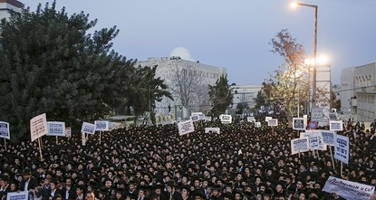 pThousands of ultra-Orthodox Jews demonstrated in Jerusalem on Tuesday over military service in one of several protests following the recent detention of a rabbi's son who refused to report to a...