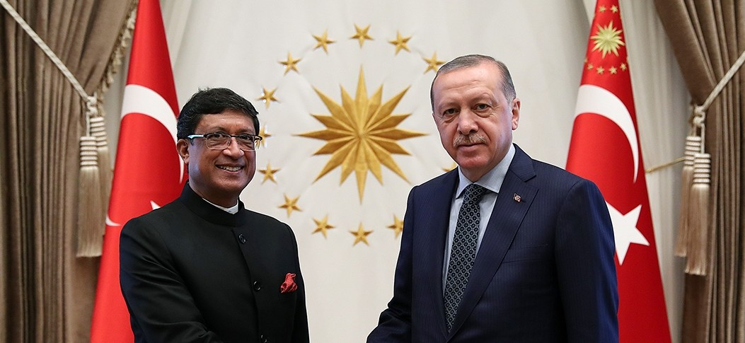 President Recep Tayyip Erdou011fan is pictured with Indian Ambassador to Turkey Sanjay Bhattacharyya.