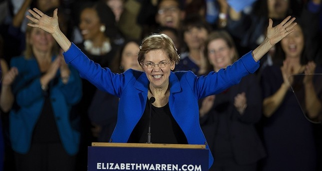 United States Senator Elizabeth Warren delivers her victory speech at the Massachusetts Democrats Election Night Rally at the Fairmont Hotel in Boston, Massachusetts, Nov. 6, 2018. (EPA Photo)