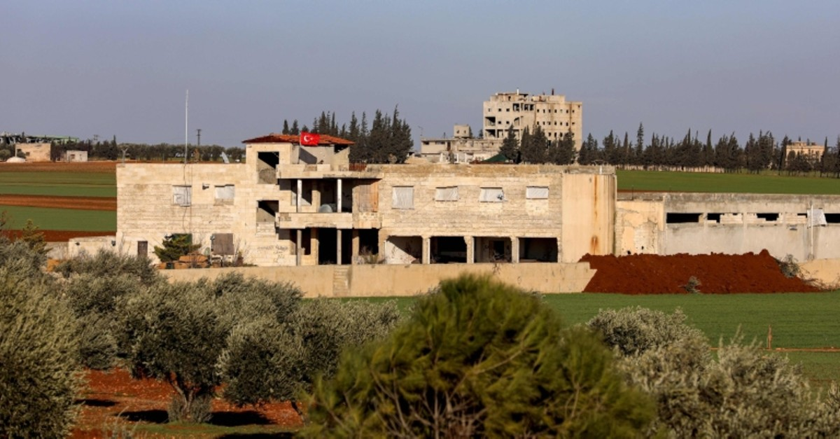 This Feb. 1, 2020, photo shows a view of a Turkish military observation point on the northern outskirts of the town of Saraqib, east of Idlib, northwestern Syria. (AFP Photo)