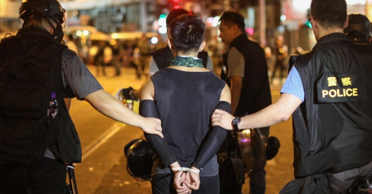 Police arrest protesters taking part in a rally against police brutality in Hong Kong, China, July 28, 2019. (EPA Photo)