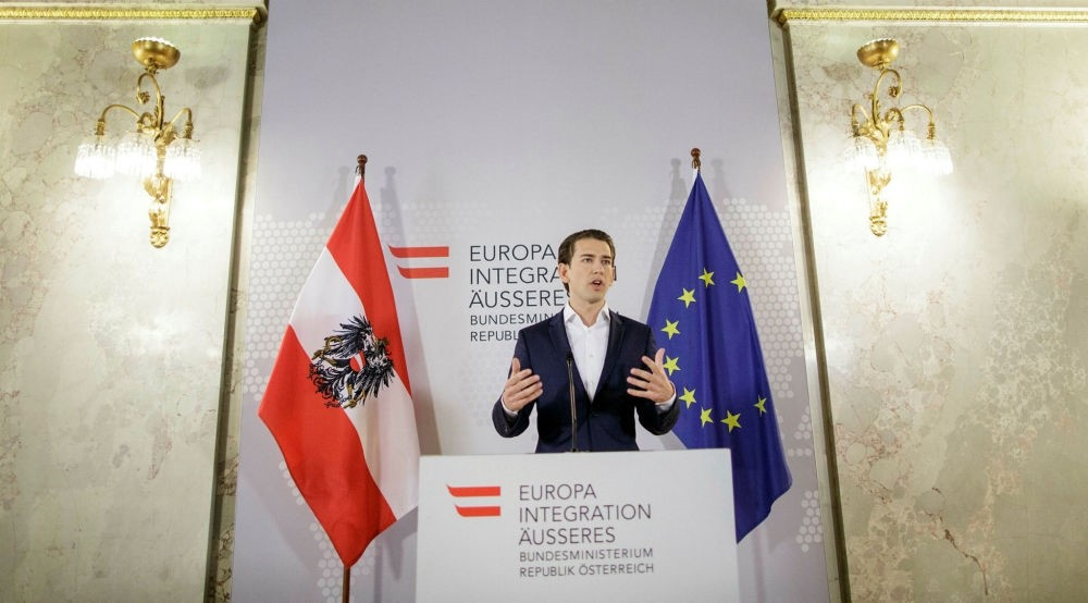 Sebastian Kurz, Austrian Minister of Foreign Affairs, gestures as he speaks during a statement given to the media, in Vienna, Austria, May 12. (EPA Photo)