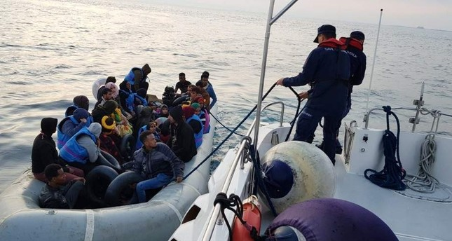 The Turkish Coast Guard intercepts 34 illegal migrants aboard a boat at the mouth of the Menderes River in western Turkey, Oct. 10, 2019. (IHA Photo)