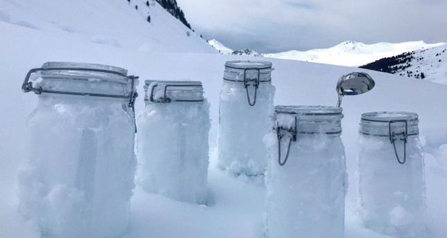 This undated photo provided by the 'Helmholtz centre for polar and marine research the Alfred Wegener institute' shows snow samples from Tschuggen, Switzerland, locked and ready for transport to Davos (AP Photo)