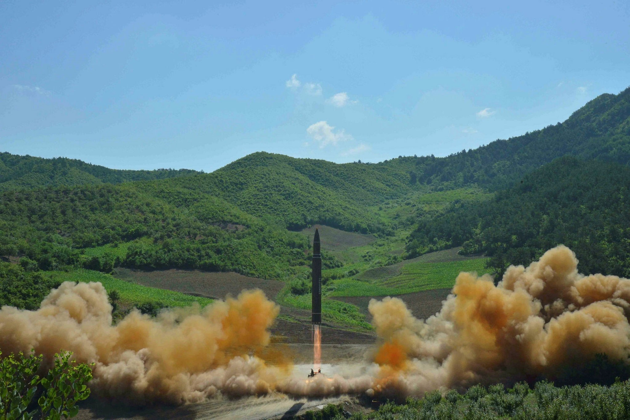 The intercontinental ballistic missile Hwasong-14 is seen during its test launch in this undated photo released by North Korea's Korean Central News Agency (KCNA) in Pyongyang, July, 4 2017. (Reuters Photo)