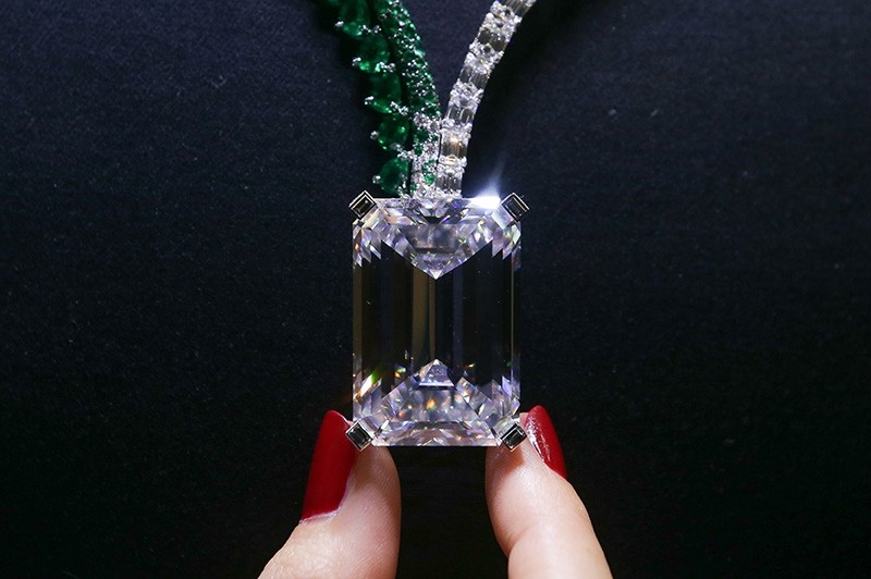 The necklace, known as Creation I, featuring a 163.41 carat D-Colour Flawless diamond, created by Swiss jewellers de Grisogono, sold for $33.5 million at a Christie's event in Geneva, Switzerland on Nov. 15, 2017.