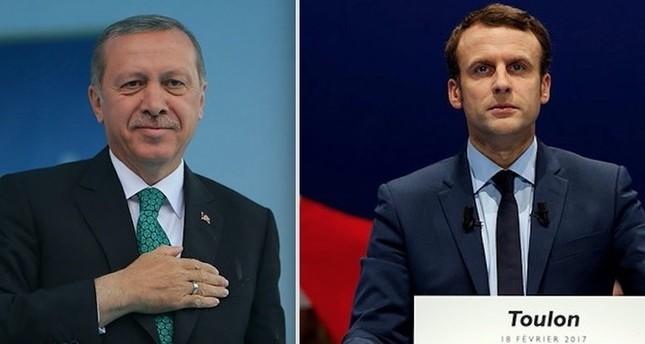 Erdoğan and Macron (R)