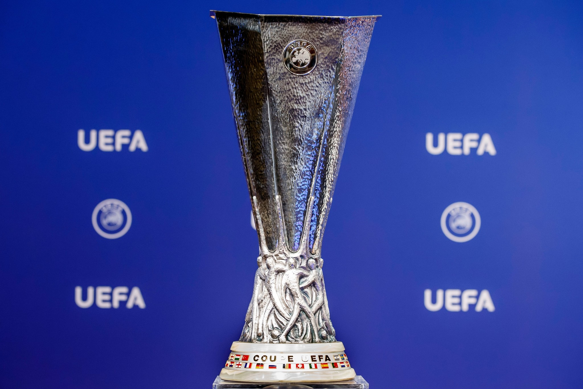 This Monday, June 19, 2017 file photo shows the Europa League trophy during the drawing of the games for the Europa League 2017/18 first qualifying round, at the UEFA headquarters in Nyon, Switzerland. (AP Photo)