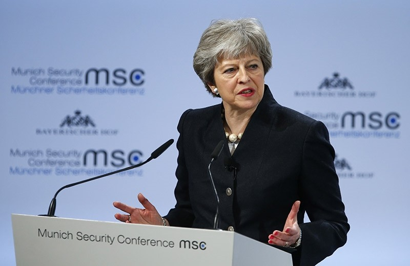 Britain's Prime Minister Theresa May talks at the Munich Security Conference in Munich, Germany. (Reuters Photo)