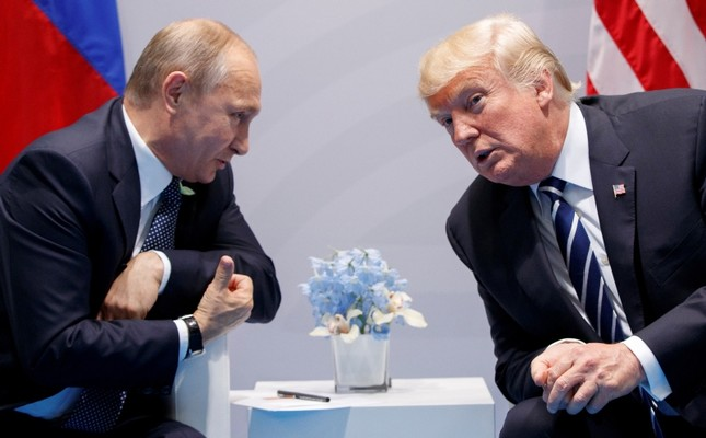 In this Friday, July 7, 2017, file photo U.S. President Donald Trump meets with Russian President Vladimir Putin at the G-20 Summit in Hamburg. (AP Photo)