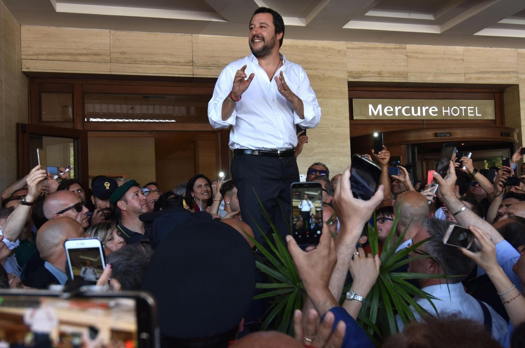 Italyu2019s new Vice Prime Minister and Interior Minister Matteo Salvini delivers a speech during local elections, in Catania, June 3.
