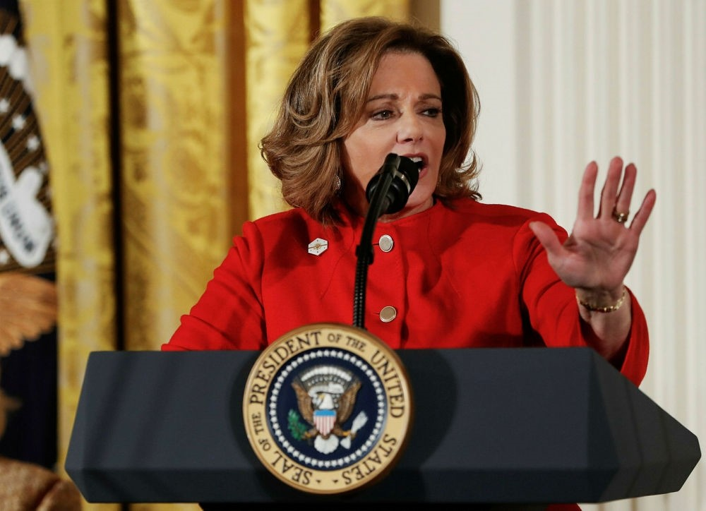 Deputy National Security Adviser K.T. McFarland speaks at the Women's Empowerment Panel, at the White House in Washington on March 29. (AP Photo)