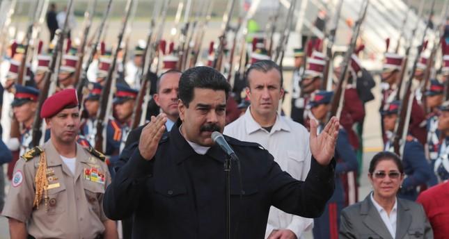 Venezuela's President Nicolas Maduro (C) speaks after his arrival at the Simon Bolivar airport in La Guaira, Venezuela October 7, 2017. (Reuters Photo)