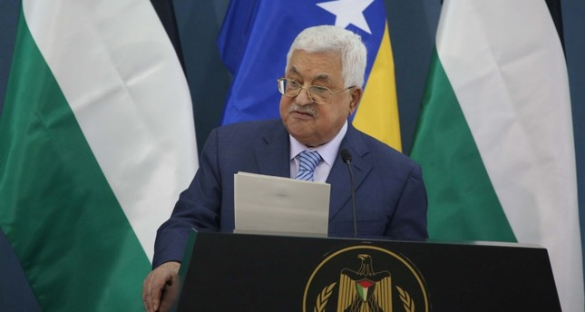 Palestinian President Mahmoud Abbas speaking during an official visit by Bosnian President Izetbegovic (AA Photo)