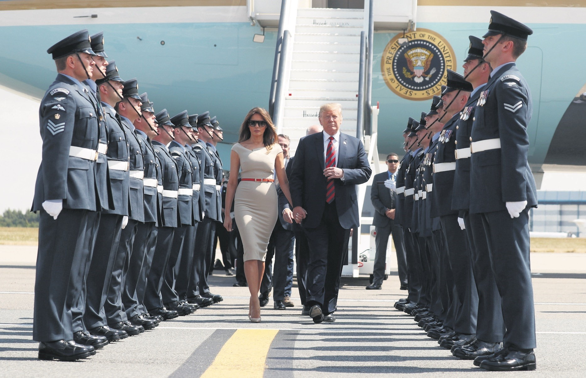 U.S. President Donald Trump and first lady Melania Trump arrive at Stansted Airport, Britain, July 12.