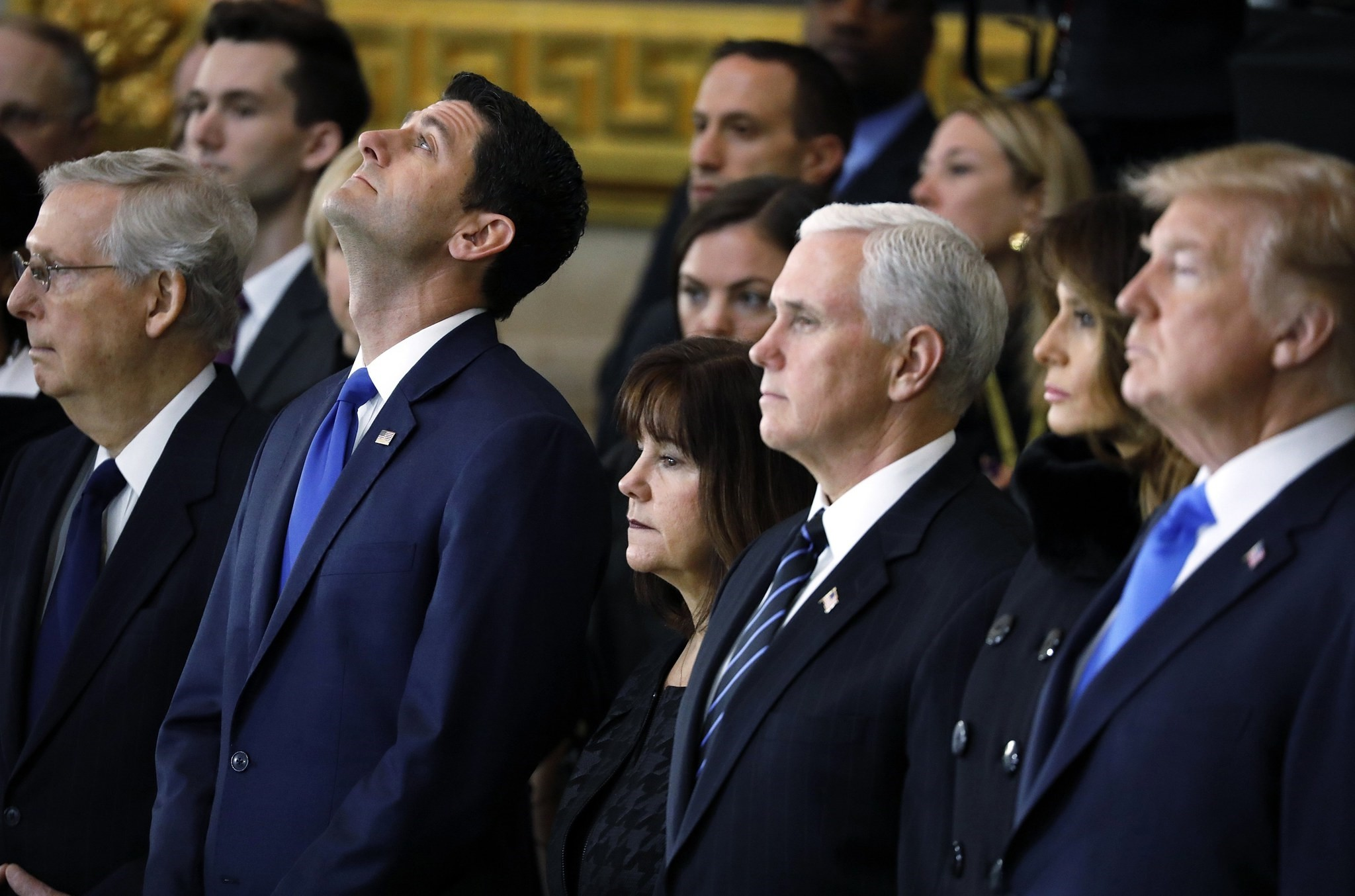(L-R) US Senate Majority Leader Mitch McConnell, US Speaker of the House Paul Ryan, US second lady Karen Pence, U.S. Vice President Mike Pence, US First Lady Melania Trump and President Donald J. Trump. (EPA Photo)