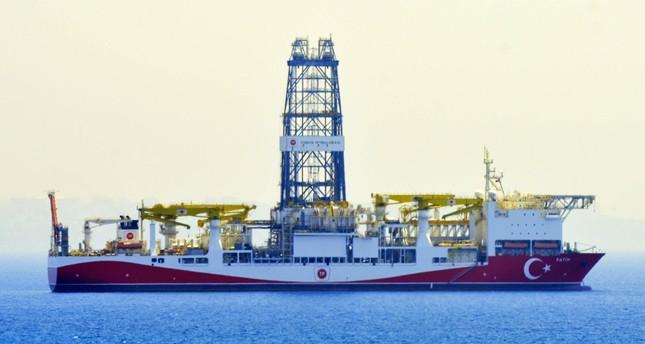 Turkey's first drillship, Fatih, seen off the shores of the Mediterranean city of Antalya.