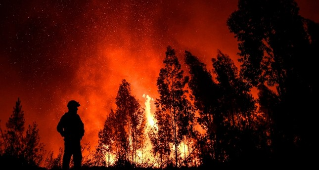 A firefighter monitors the progression of a wildfire at Amendoa in Macao, central Portugal on July 21, 2019. (AFP Photo)