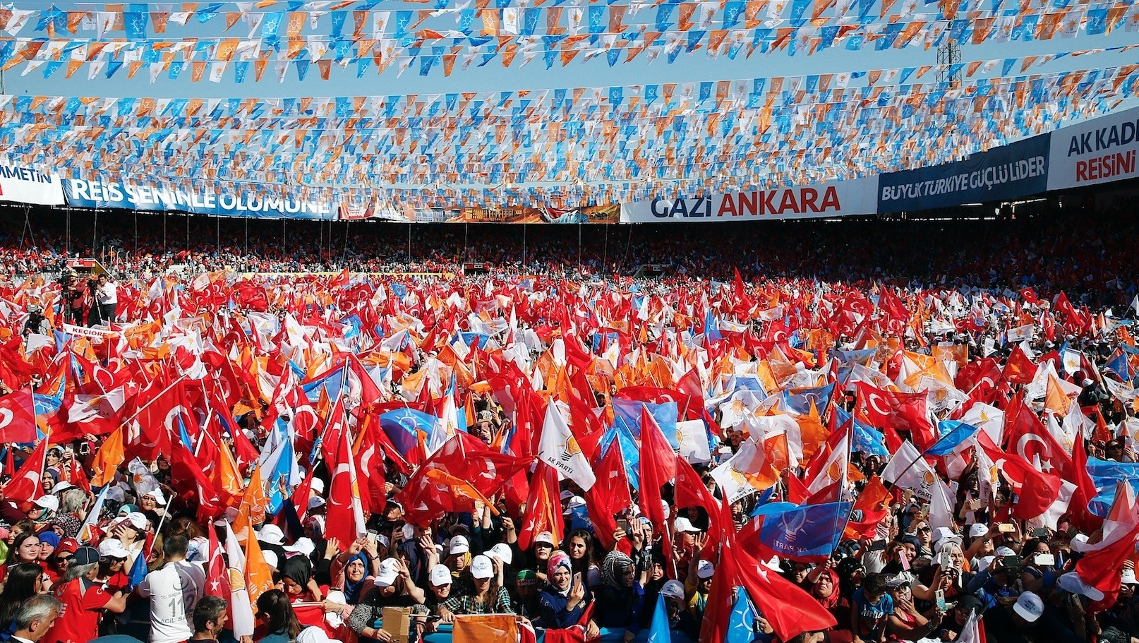 President Recep Tayyip Erdou011fan  (not pictured) addresses to people in Ankara.