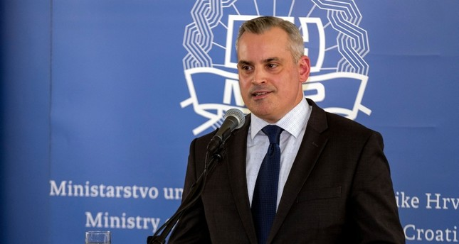 Jeff Ferris from the Drug Enforcement Administration (DEA) speaks during a press conference while presenting results of the criminal investigation codename Familia, in Zagreb on July 25, 2019. (AFP Photo)
