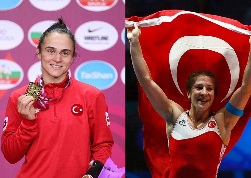 Turkish wrestlers Elif Jale Yeu015filu0131rmak (L) and Yasemin Adar (R) won gold medals at the 2018 European Championships. (AA Photo