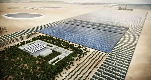 Solar energy and salt water power vegetable farms in the desert