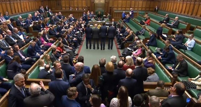 A video grab from footage broadcast by the UK Parliament's Parliamentary Recording Unit PRU shows tellers announcing the result of a vote on the European Union Withdrawal Agreement Bill, in the House of Commons in London on Jan. 9, 2020. AFP Photo