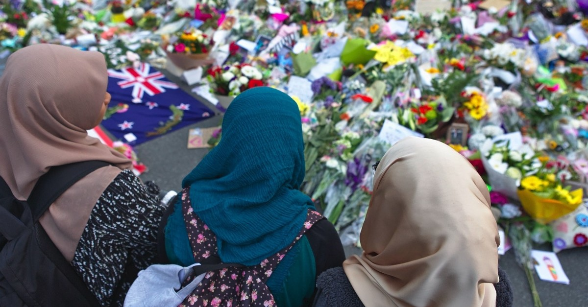 Muslim women pay tribute to the victims of the twin deadly mosque attacks in Christchurch, New Zealand, March 19, 2019.