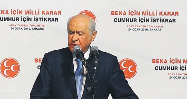 MHP leader Devlet Bahçeli speaks at his party's candidate presentation event in Ankara, Jan. 24, 2019.