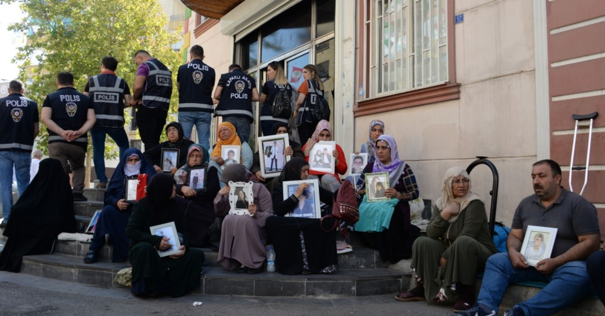 Kurdish mothers stage a sit-in protest in front of the HDP headquarters in southeastern Turkey's Diyarbaku0131r, Sept. 27, 2019.