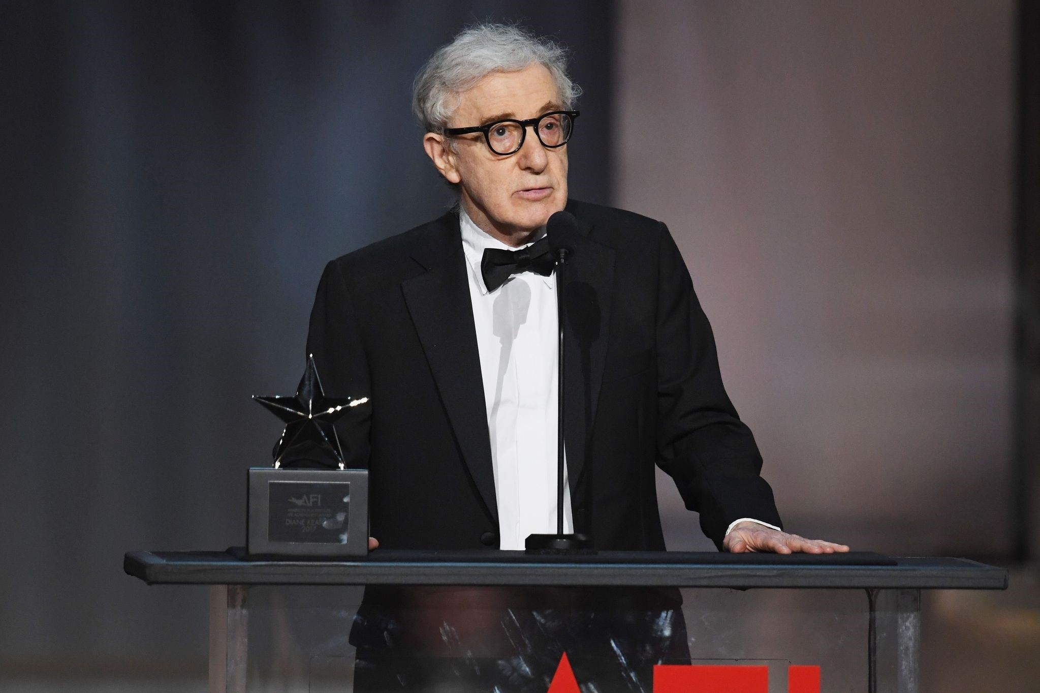 This file photo taken on June 8, 2017 shows Director-actor Woody Allen speaking onstage during American Film Institute's 45th Life Achievement Award Gala Tribute to Diane Keaton at Dolby Theater. (AFP Photo)