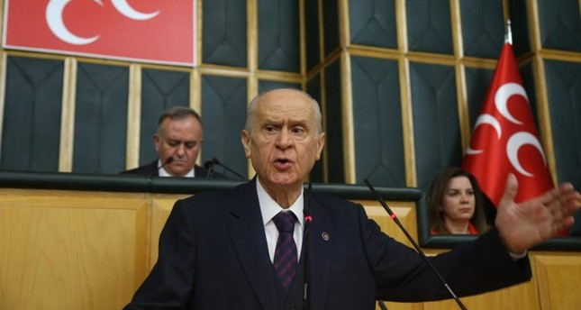 MHP Chairman Devlet Bahçeli speaks at the Turkish Parliament on Tuesday, Feb. 11, 2020. IHA Photo To MHP Chairman Devlet Bahçeli speaks at the Turkish Parliament on Tuesday, Feb. 11, 2020. IHA Photo
