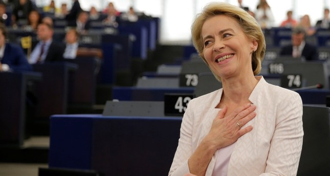 Elected European Commission President Ursula von der Leyen reacts after a vote on her election at the European Parliament in Strasbourg, France, July 16, 2019. (REUTERS Photo)