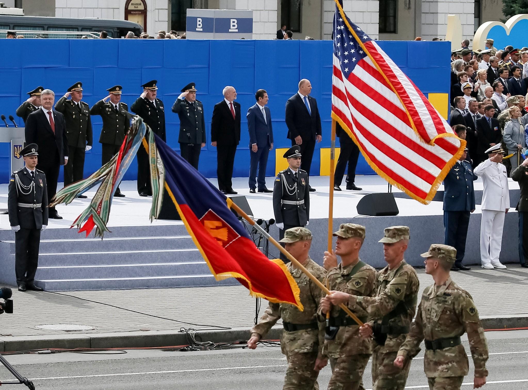 U.S. servicemen march as Ukrainian President Petro Poroshenko looks on during a military parade marking Ukraine's Independence Day in Kiev, Ukraine August 24, 2017. (Reuters Photo)