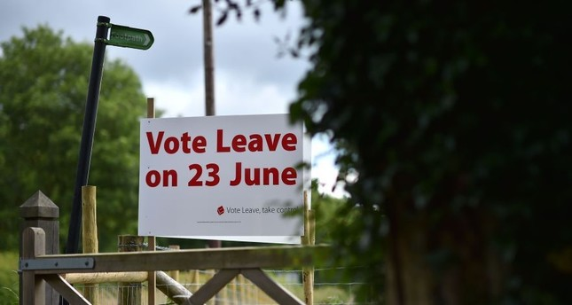 A 'Vote Leave' sign by the roadside near Tunbridge Wells urging to vote to leave the EU in the upcoming referendum, London.
